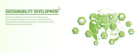 Banner design for Sustainability development and Global Green Industries Business concept, Vector illustration