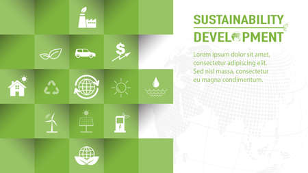 Template design for Sustainability development and Global Green Industries Business concept, Vector illustration