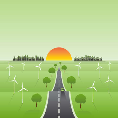 Greeen city and alternative energy for sustainability development conept, Vector illustration 矢量图像