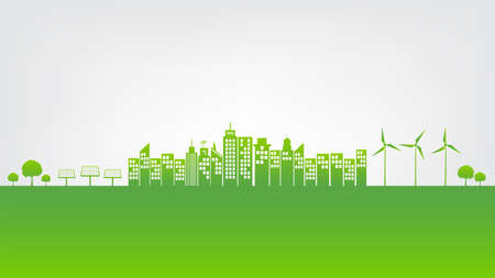 Sustainability development green city and Ecology friendly concept, vector illustration
