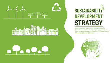 Sustainability development strategy background and template, vector illustration
