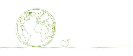 Sustainability development background banner with hand drawn, Save the world, Environmental and Ecology concept, Vector illustration