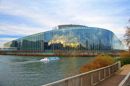 european parliament: Building of European Parliament is on the bank of river in Strasbourg Editorial