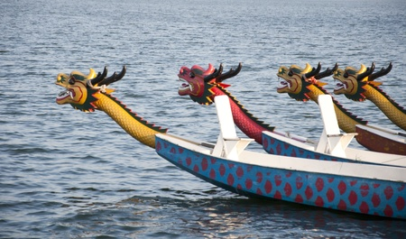 wooden boat: Dragon Boat Stock Photo