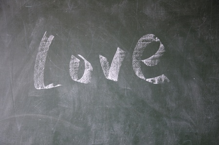 blankness: love title drawn with chalk on blackboard