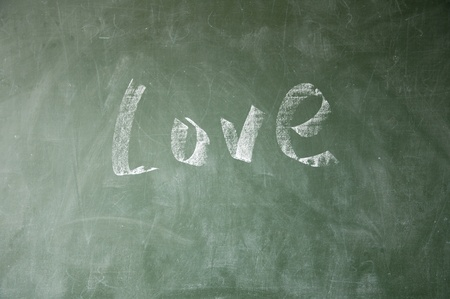 love title drawn with chalk on blackboard photo
