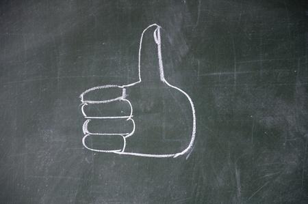 commend: Thumb drawn wtih chalk on blackboard