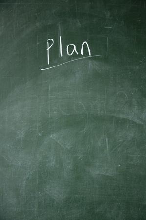projet: plan title written with chalk on blackboard
