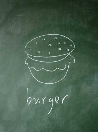 burger drawn with chalk on blackboard photo