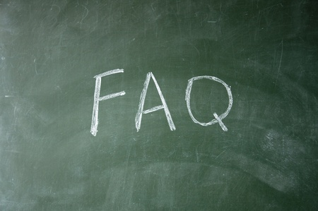 furtherance: faq title drawn with chalk on blackboard