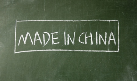 MADE IN CHINA drawn with chalk on blackboard photo