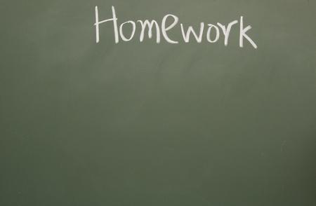 lacunae: homework title written with chalk on blackboard