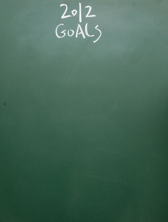 goals title handwritten with white chalk on blackboard photo