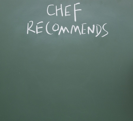 chef recommends drawn with chalk on blackboard photo