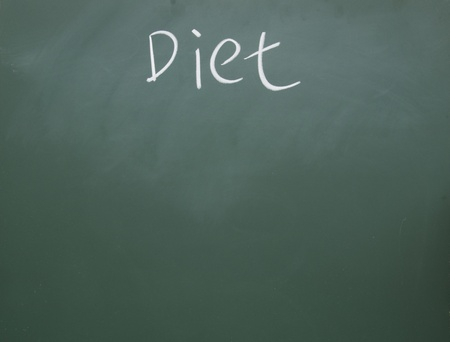 diet title written with chalk on blackboard photo