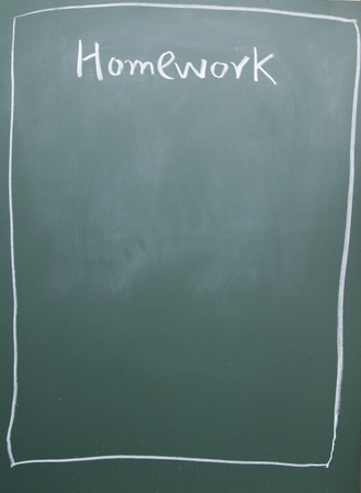 blankness: homework title written with chalk on blackboard