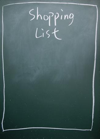 memorise: shopping list title written with chalk on blackboard Stock Photo