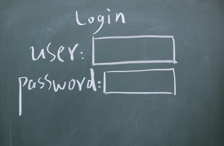 Login interface written with chalk on blackboard photo