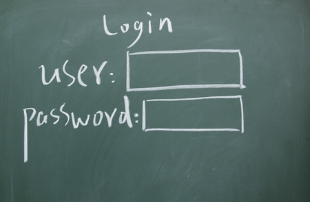secret code: Login interface written with chalk on blackboard Stock Photo