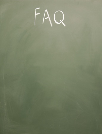 furtherance: faq title written with chalk on blackboard