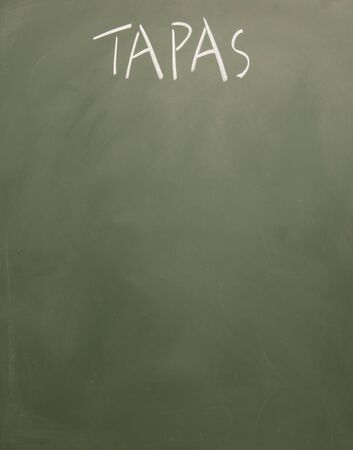 blankness: tapas title written with chalk on blackboard