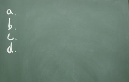projet: a、b、c、d title written with chalk on blackboard