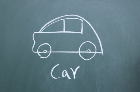 car drawn with chalk on blackboard Stock Photo - 12006712