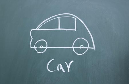 car drawn with chalk on blackboard Stock Photo - 12006712
