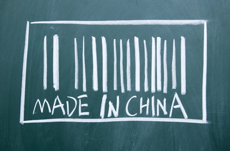 MADE IN CHINA title written with chalk on blackboard photo