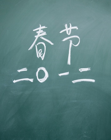 chinese new year title written with chalk on blackboard