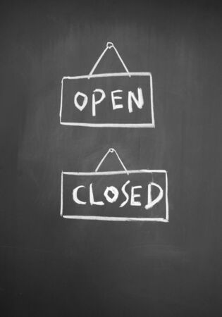 detriment: open and closed sign drawn with chalk on blackboard Stock Photo