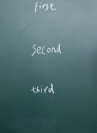 first、second、third title written with chalk on blackboard Stock Photo