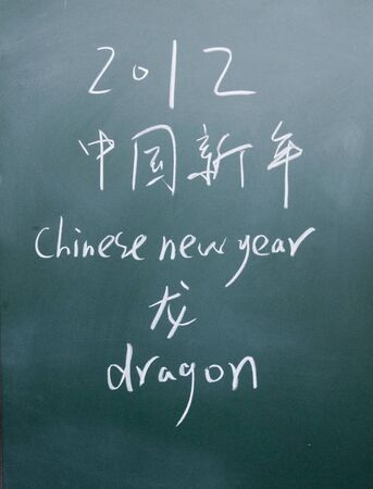 lacunae: chinese new year title written with chalk on blackboard