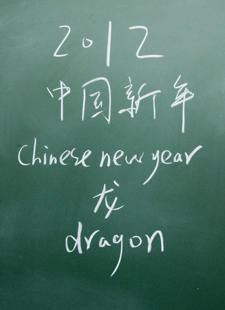 chinese new year title written with chalk on blackboard photo