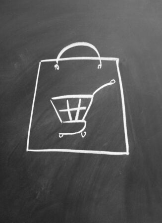 Electronic shopping cart drawn with chalk on blackboard Stock Photo - 12022599