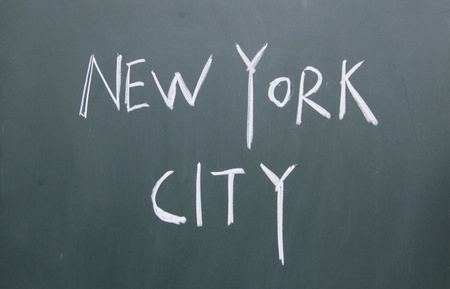 new york city title written with chalk on blackboard photo