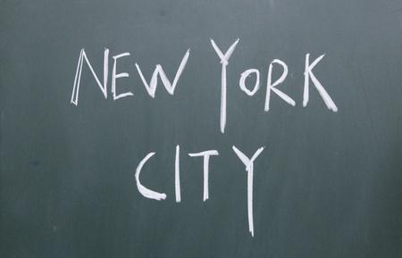 new york city title written with chalk on blackboard photo