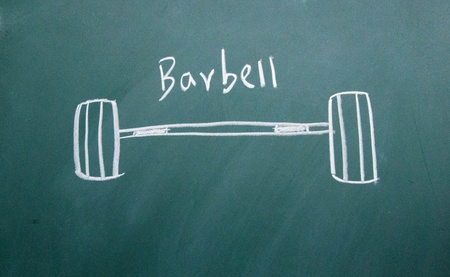 barbell drawn with chalk on blackboard photo