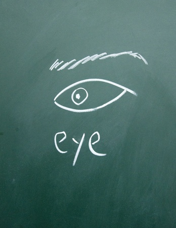 eye drawn with chalk on blackboard photo