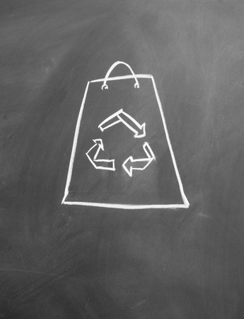 Reusable shopping bags drawn with chalk on blackboard Stock Photo - 12022596