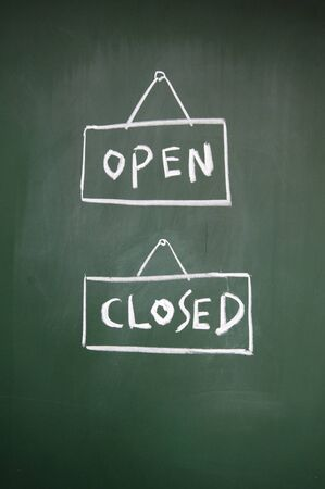 open and closed sign drawn with chalk on blackboard photo