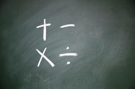 satined: Arithmetic symbols drawn with chalk on blackboard