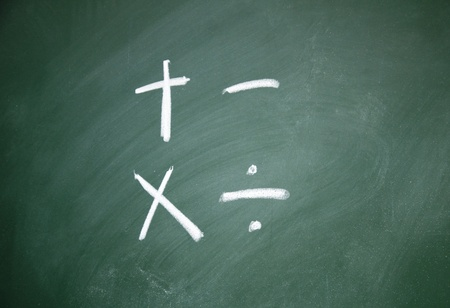 Arithmetic symbols drawn with chalk on blackboard photo