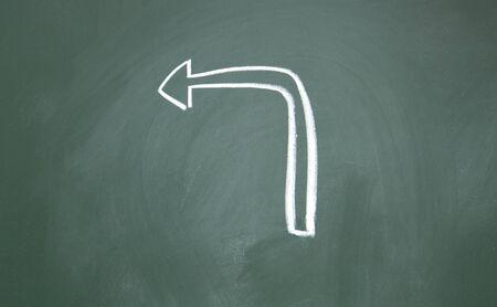 arrow drawn with chalk on blackboard photo