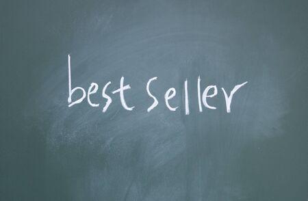 best seller title written with chalk on blackboard photo