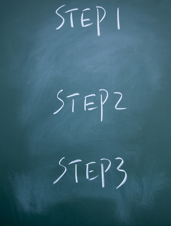 the first step: step title written with chalk on blackboard