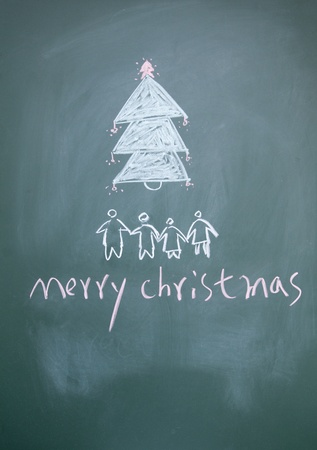 merry christmas sign written with chalk on blackboard photo