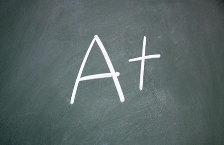A+ title written with chalk on blackboard photo