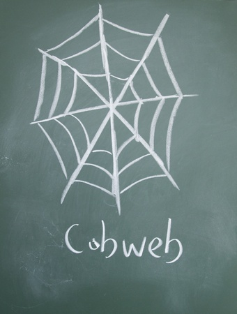 cobwebby: cobweb drawn with chalk on blackboard Stock Photo