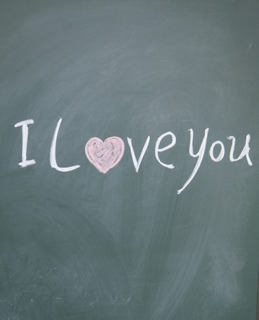 i love you title drawn with chalk on blackboard photo
